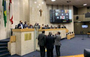 Vereadores de São Paulo durante debate no plenário da Câmara Municipal, no Centro da cidade. — Foto: Divulgação/CMSP